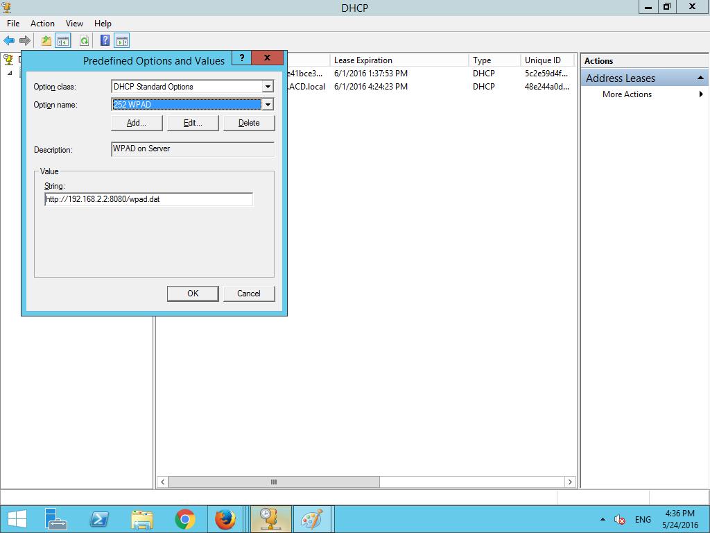 WPAD not working on Windows Server 2012 R@
